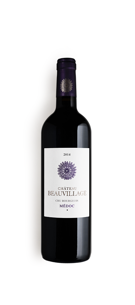 packshot de la bouteille du millésime 2014 de château beauvillage, vignoble en médoc