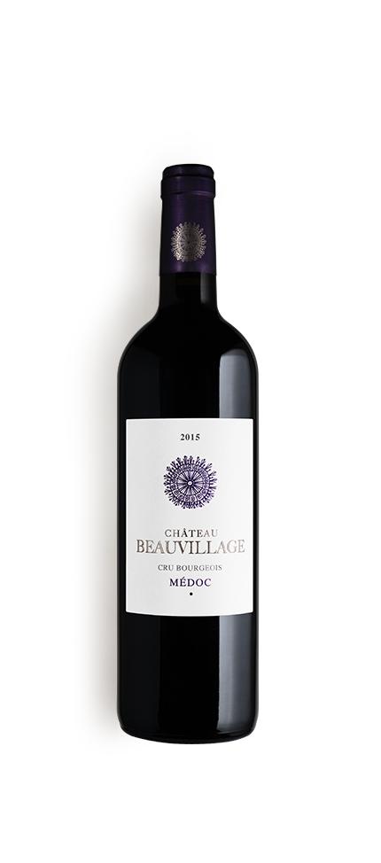 packshot de la bouteille du millésime 2015 de château beauvillage, vignoble en médoc
